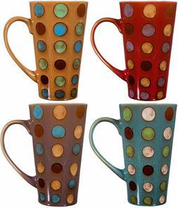 Ceramic Coffee Mug with Handle, Set of 4 Asst, Tall Ceramic