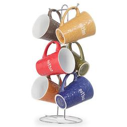 Ceramic Color Mug set With Metal Tree Stand Rack - Embossed