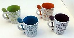 8 Piece Ceramic Deluxe 12oz. Coffee/Tea Mug Set - Latte