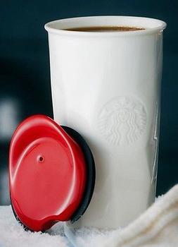 Starbucks Ceramic Double Wall 10 fl oz Faceted Travel Mug wi