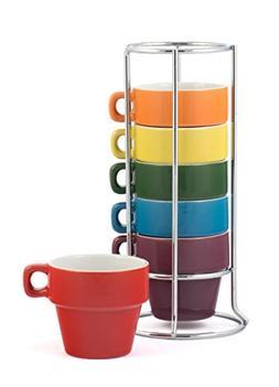 Gypsy Color 3 OZ. Espresso Stacking Coffee Mug Set with Meta