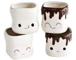 Ceramic Marshmallow Shaped Mugs Cute Shaped Hot Chocolate Cu