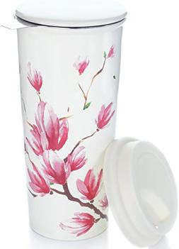 16oz Ceramic Travel Mug with Lid. Magnolia Double-Walled Tea