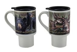 Ceramic Travel Mugs American Expedition 2 Piece Bear & Deer