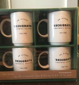 Starbucks Ceramic Mugs Set of 4 Stacking 2018 Seattle 14oz N