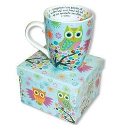 Beautiful Ceramic OWL Coffee MUG with SCRIPTURE Joshua 1:9 B