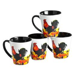 Ceramic Rooster Coffee and Tea Mugs, 12 Ounce, Set of 4