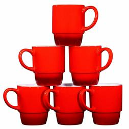 Bruntmor Ceramic Stacking Coffee Mugs Tea Cups Set of 6 Grad