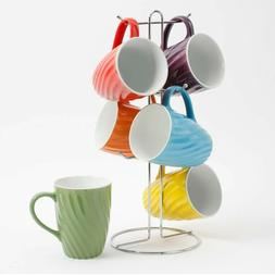 Ceramic Twisted Color 15 Oz. Mug Set W/ Metal Tree Stand - 7