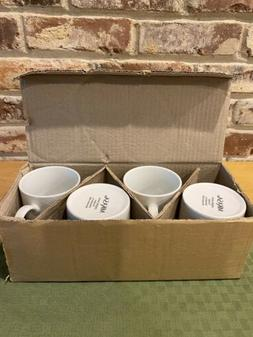 Mikasa Cheers White Porcelain Mugs Set Of 4 Brand New