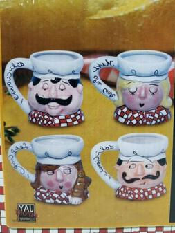 Chef's Collection 4 Coffee Mug Set Ceramic Handpainted Cups