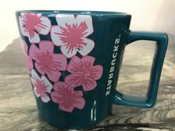 STARBUCKS Cherry Blossom Mug Ceramic 14 oz Blue