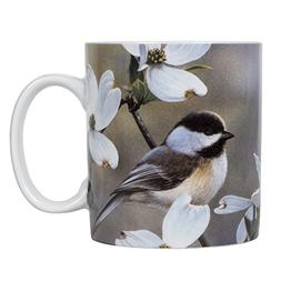 Chickadees and Flowers 16 ounce Porcelain Stoneware Nature S