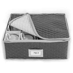 China Cup Storage Chest - Quilted Fabric Container in Gray M