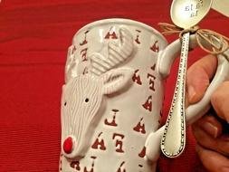 "Christmas ""Fa La La"" Reindeer Mug with Spoon  New By Mud Pie"