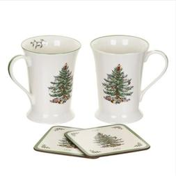Spode® Christmas Tree Set of 2 Mugs & Coasters