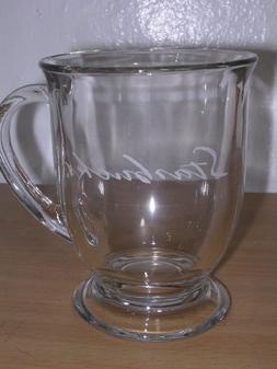 Large 16 Oz Starbucks Clear Glass Footed Coffee Tea Cup Mug