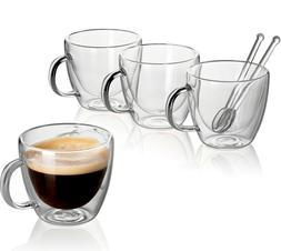 Clear Glass Set Double Wall Coffee Mug Espresso Cup 5.4 oz +