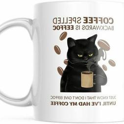 Funny Coffee Cat Mug EEFFOC Is Coffee Spelled Backwards. 11
