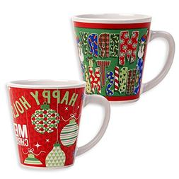 Set of 2 Coffee Ceramic Christmas Mugs Stoneware Tea Cups fo