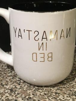"10 Strawberry Street Coffee Cup Mug ""Namast'ay in Bed"" White"
