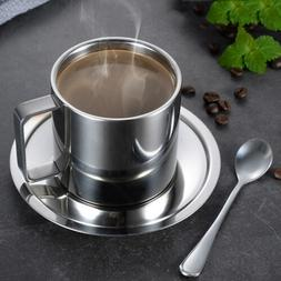 Coffee Cup Saucer Double Wall Stainless Steel Espresso/Tea C
