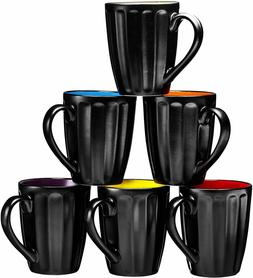 Ceramic Coffee Cups Mugs Set of 6 Large-sized 16 Ounce Groov