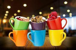 Bruntmor Ceramic Coffee Cups Mugs Set of 6 Large-sized Mugs