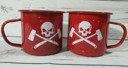 Alpha Outpost Coffee, Food Mugs 16 oz Red Skull and Cross Ax