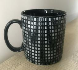 Pier 1 Coffee Mug 12oz Black and White Checks Ceramic Stonew