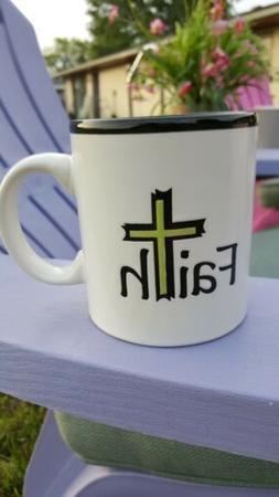 Coffee Mug Cup FAITH Faith  White Cross Christian Art Gifts
