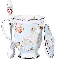 AWHOME Tea Cup and Lid and Spoon Set Royal Fine Bone China C