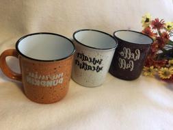 Coffee Mug Set Of 3 Hello Fall Sweater Weather Morning Pumpk