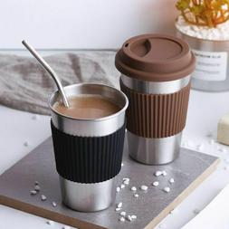 Coffee Mug Stainless Steel With Lid StrawTaza Cafe Metal Cup