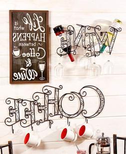 COFFEE MUG STORAGE or WINE GLASS BOTTLE HOLDER RACK WALL ART