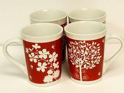 Royal Norfolk Coffee Mug ''TREE OF LIFE'' Red Mugs SET OF 4
