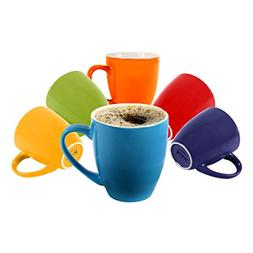 Klikel 6 Colored Coffee Mugs Set | 16oz Flat Bottom Stonewar