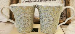 222 Fifth Coffee Mugs Tea Cups LYRIA TEAL Set of 2 Porcelain