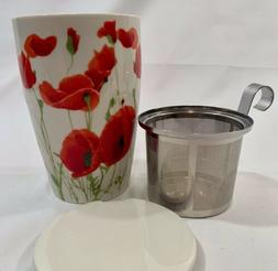 Coffee Tea Ceramic Mug Tea Cup with Infuser Lid Insulated 12