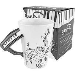 Coffee Tea Mug Black Piano White Ceramic Cup Music Novelty G