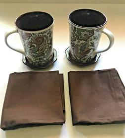 Coffee Tea Mug Cups Mugs Two Mugs with Saucer and Two Napkin