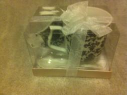 COFFEE / TEA MUG WITH SPOON & TEA BAG HOLDER--BLACK / WHITE-
