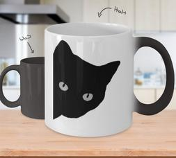 Color Changing Mugs Cat Silhouette - Black Cat - 11oz Coffee