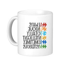 Color Words Autism Awareness Puzzle Pieces Coffee Mug