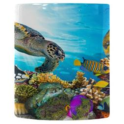 InterestPrint 11oz Colorful Fish and Sea Turtle on Ocean Cor