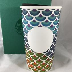 STARBUCKS Colorful Scales Double Wall Ceramic Traveler Tumbl