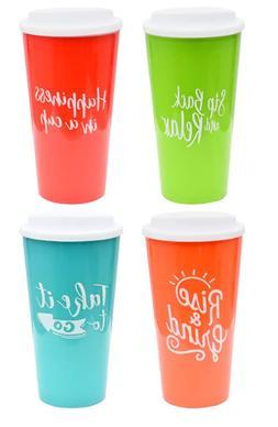 Colorful Sentiment Assorted Travel Mugs, 16 fl.oz. $5.79 Fre