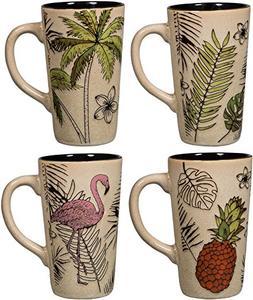 Colorful Tasty Ceramic Coffee Mug with Handle – Set of 4 C