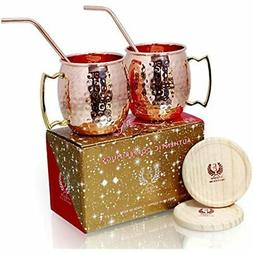 Copper Mugs - Set Of 2-100% HANDCRAFTED Food Safe Pure 16 Oz