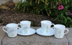 Corning Corelle Coffee Cups Mugs and Saucers ~ Shadow Iris ~